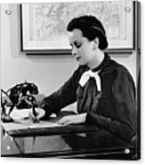 Woman Writing At Desk Acrylic Print by George Marks