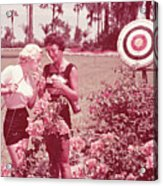 Women Holding Bow And Quiver By Target Acrylic Print by Archive Holdings Inc.