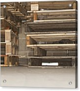Wooden Pallets Stacked Up Acrylic Print by Shannon Fagan