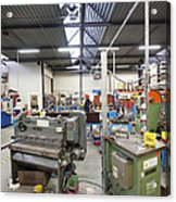 Workshop Full Of Machinery In A Factory Acrylic Print by Corepics