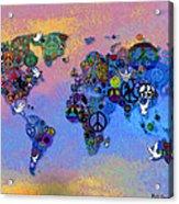 World Peace Tye Dye Acrylic Print by Bill Cannon