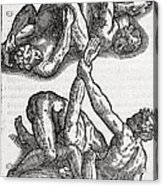 Wrestling Moves, 16th Century Artwork Acrylic Print by Middle Temple Library