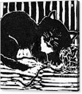 Yarn Cat  Block Print Acrylic Print by Ellen Miffitt