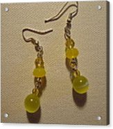 Yellow Ball Drop Earrings Acrylic Print by Jenna Green