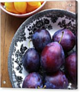 Yellow Cherry Tomatoes And Plums Acrylic Print by Laura Johansen