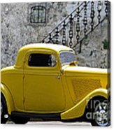 Yellow Coupe Hardtop Acrylic Print by Jerry L Barrett