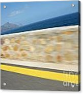 Yellow Line On A Coastal Road By Sea Acrylic Print by Sami Sarkis