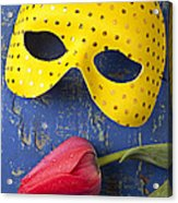 Yellow Mask And Red Tulip Acrylic Print by Garry Gay