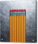 Yellow Pencils With Erasers On Stainless Steel. Acrylic Print by Ballyscanlon