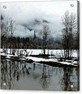 Yosemite River View In Snowy Winter Acrylic Print by Jeff Lowe
