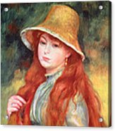 Young Girl With Long Hair Acrylic Print by Pierre Auguste Renoir
