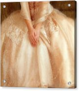Young Lady Sitting In Satin Gown Acrylic Print by Jill Battaglia