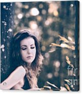 Young Woman In The Forest Acrylic Print by Gabriela Insuratelu