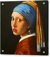 Young Woman With Pearl Earring Acrylic Print by Hugo Palomares