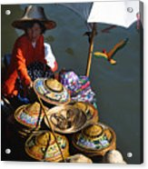 Boat Woman In Thailand Acrylic Print by Carl Purcell