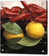 Lemons And Dried Red Peppers  For Sale Acrylic Print by Richard Nowitz
