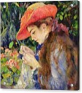 Marie Therese Durand Ruel Sewing Acrylic Print by Pierre Auguste Renoir