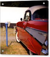 Red Chevy At The Drive-in Acrylic Print by Robert Ponzoni