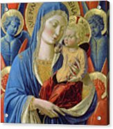 Virgin And Child With Angels Acrylic Print by Benozzo di Lese di Sandro Gozzoli