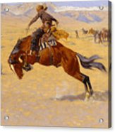 A Cold Morning On The Range Acrylic Print by Frederic Remington