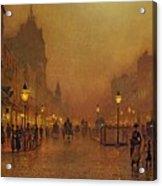 A Street At Night Acrylic Print by John Atkinson Grimshaw