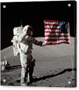 Apollo 17 Astronaut Salutes The United Acrylic Print by Stocktrek Images