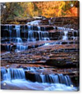 Archangel Falls In Zion Acrylic Print by Pierre Leclerc Photography