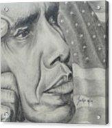 Barack Obama Acrylic Print by Stephen Sookoo