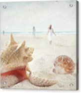 Beach Scene With People Walking And Seashells Acrylic Print by Sandra Cunningham