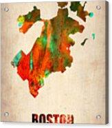 Boston Watercolor Map  Acrylic Print by Naxart Studio