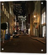 Christmas Eve 2009 On Maiden Lane In San Francisco Acrylic Print by Wingsdomain Art and Photography