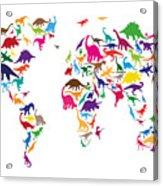 Dinosaur Map Of The World Map Acrylic Print by Michael Tompsett