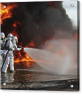 Firefighting Marines Battle A Huge Acrylic Print by Stocktrek Images