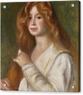 Girl Combing Her Hair Acrylic Print by Pierre Auguste Renoir