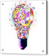 Light Bulb Design By Cogs And Gears  Acrylic Print by Setsiri Silapasuwanchai
