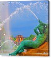 Logan Circle Fountain 1 Acrylic Print by Bill Cannon