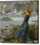 Miranda Acrylic Print by John William Waterhouse