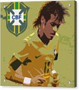 Neymar Art Deco Acrylic Print by Lee Dos Santos
