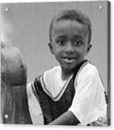 Philly Fountain Kid Acrylic Print by Brian Wallace