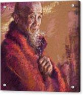 Portrait Of A Monk Acrylic Print by Ellen Dreibelbis