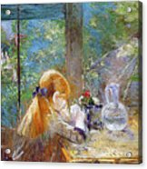 Red-haired Girl Sitting On A Veranda Acrylic Print by Berthe Morisot