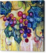 Red Water Color Grapes Acrylic Print by Peggy Wilson