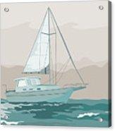 Sailboat Retro Acrylic Print by Aloysius Patrimonio