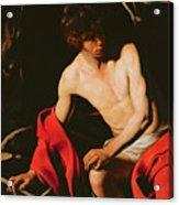 Saint John The Baptist Acrylic Print by Michelangelo Caravaggio