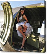Sexy 1940s Style Pin-up Girl Standing Acrylic Print by Christian Kieffer