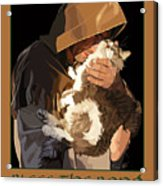 St. Francis With Cat Acrylic Print by Kris Hackleman