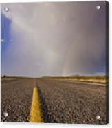 Storm And Rainbow Along The Highway Acrylic Print by Jeremy Woodhouse