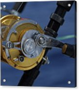 Two Rod And Reels On Board A Game Fishing Boat In The Mediterranean Sea Acrylic Print by Sami Sarkis