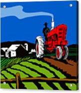 Vintage Tractor Retro Acrylic Print by Aloysius Patrimonio