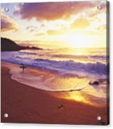 Waimea Bay Sunset Acrylic Print by Bob Abraham - Printscapes